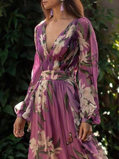 Women floral printed v neck chiffon vacation long dresses