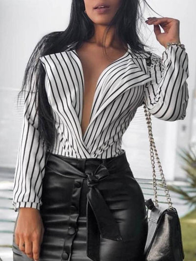 Casual Stripe Long sleeve V neck Blouses