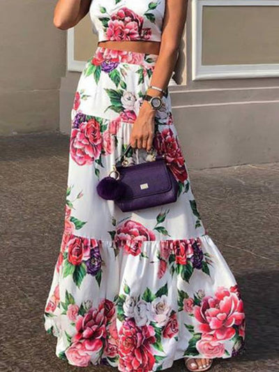 Fashion Floral Printedbig hem two pieces suit women maxi vacation dresses
