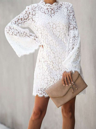 Sexy Lace Hollow Long sleeve  Two-piece suit Shift Dresses