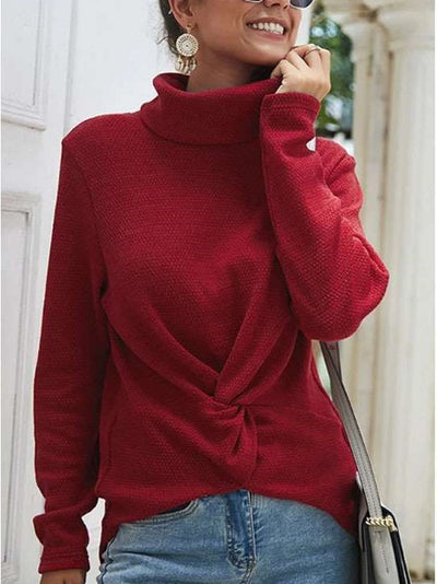 Fashion High collar Gored Knit Long sleeve Sweatshirts