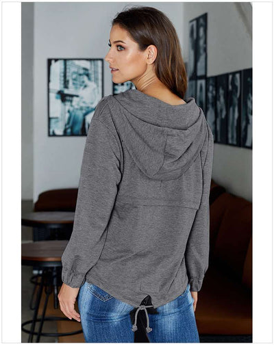 Loose Pure Fastener Long sleeve Hoodies Sweatshirts