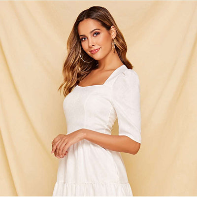 Fashion Gored Square collar Half sleeve Skater Dresses