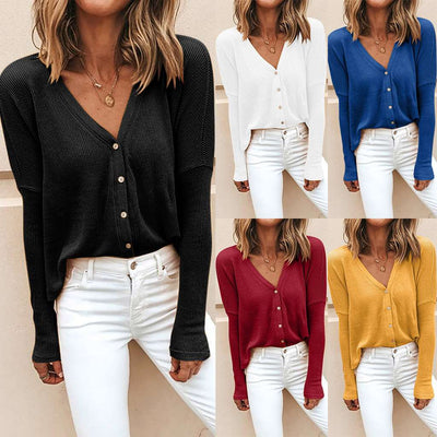 Fashion Loose Pure Fastener Long sleeve Cardigan