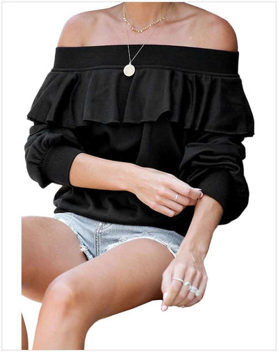 Loose Off shoulder Pure Falbala Long sleeve T-Shirts