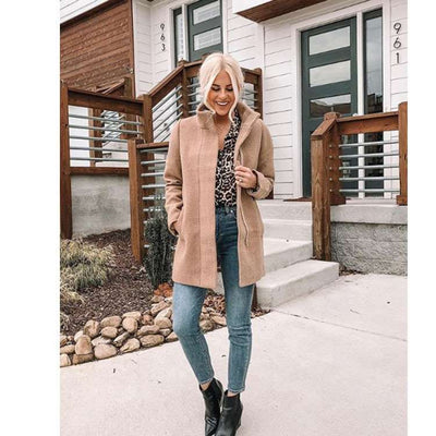 Fashion Zipper Stand collar  Woolen Coats