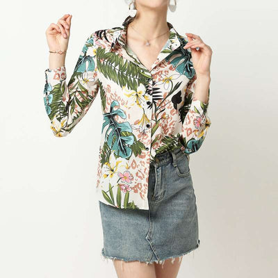 Fashion Casual Print Long sleeve Blouses