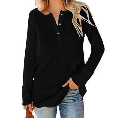 Casual Loose Knit V neck Long sleeve T-Shirts