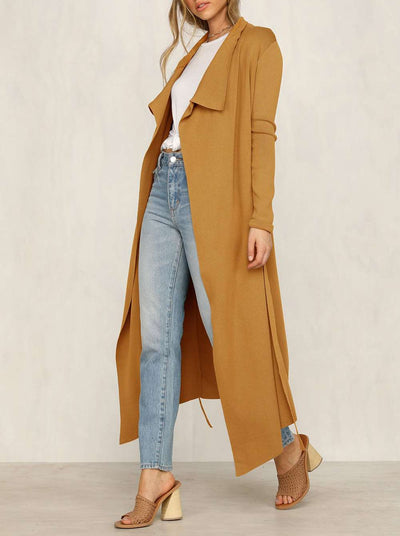 Fashion Lapel Lacing Long sleeve Trench Coats