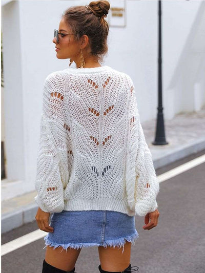 Fashion Hollow out Long sleeve Round neck Sweaters