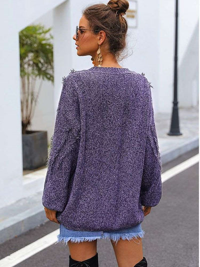 Fashion V neck Purl Knit Long sleeve Sweaters