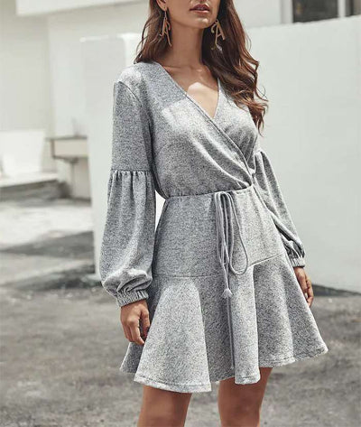 Fashion Pure V neck Long sleeve Lacing Skater Dresses