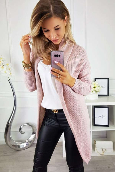 Fashion Casual Pure Knit Long sleeve Cardigan