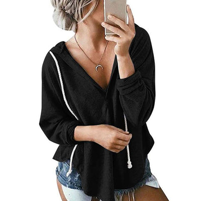 Fashion Loose V neck Long sleeve Hoodies