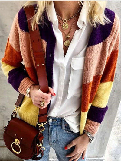 Fashion Gored Fastener Knit Cardigan