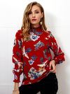 Autumn Winter Printed High Collar Chiffon Blouse