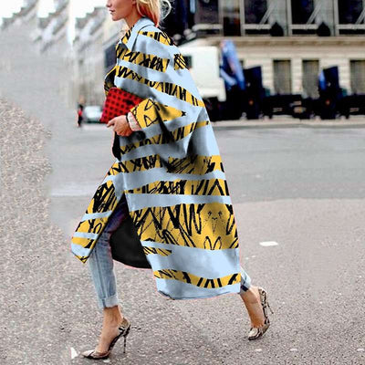 Fashion Loose Print Long Coats