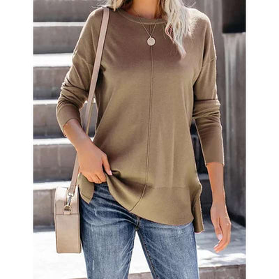 Fashion Pure Knit Round neck Long sleeve T-Shirts