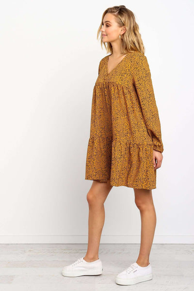 Loose Print Drape Gored V neck Long sleeve Shift Dresses