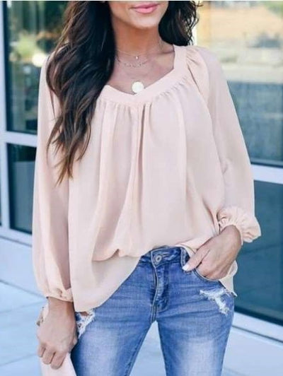 Pure Loose V neck Bowknot Chiffon T-Shirts