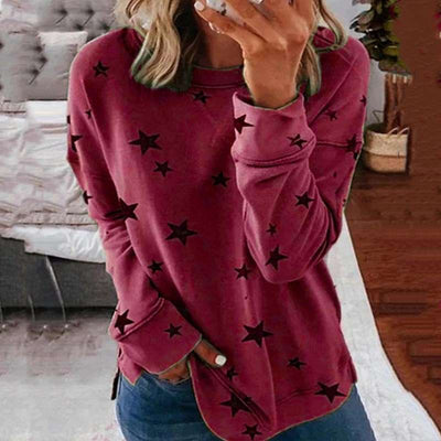 Fashion Print Gored Round neck Long sleeve T-Shirts