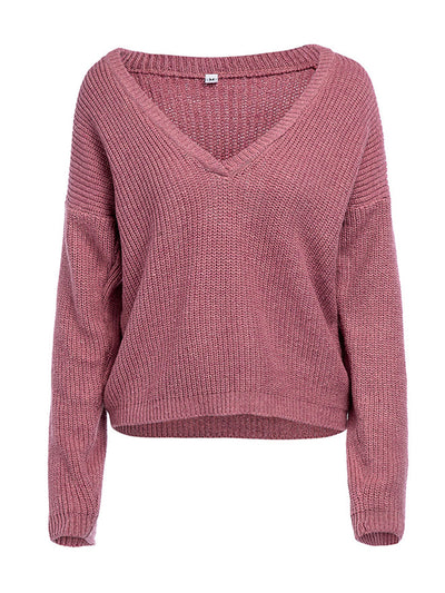 Plain Deep V Neck Long Sleeve Woman More Colors Sweaters
