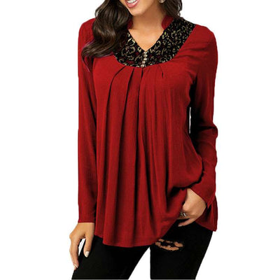 Fashion V neck Long sleeve Gored T-Shirts