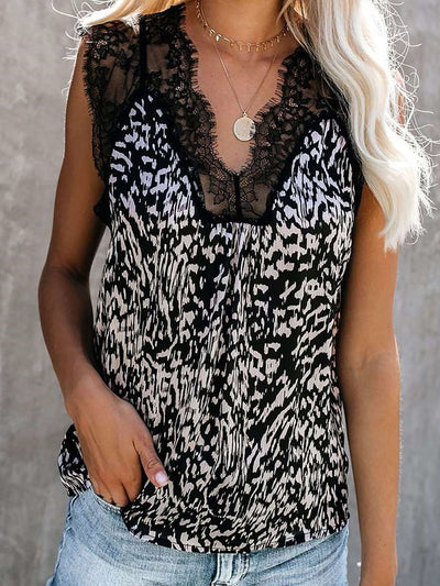 Fashion Lace Print V neck Sleeveless T-Shirts