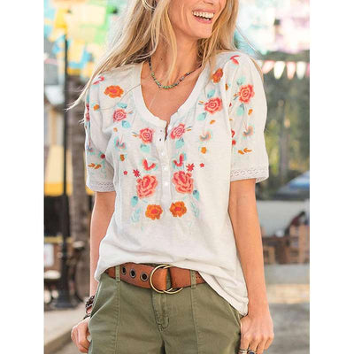 Casual Embroidery Round neck Short sleeve T-Shirts