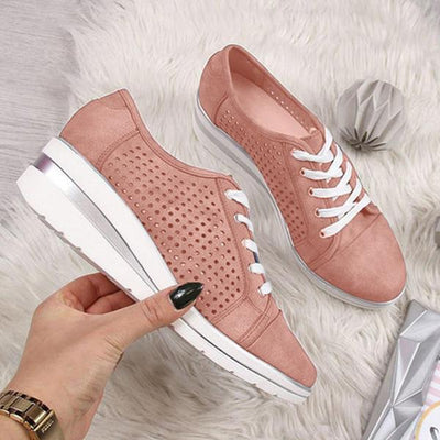 Women lace-up plain stylish Pointed Toe sneakers