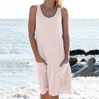 Casual Pure Round neck Vest Pocket Shift Dresses