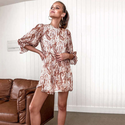 Fashion Round nec Print Half sleeve Shift Dresses