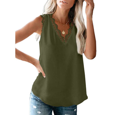 Casual Lace V neck Sleeveless T-Shirts