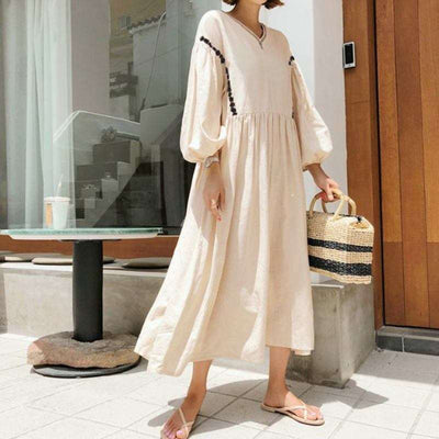 Casual Loose V neck Puff sleeve Maxi Dresses