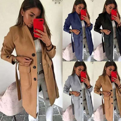Slim wool turn down neck women long sleeve plain coats