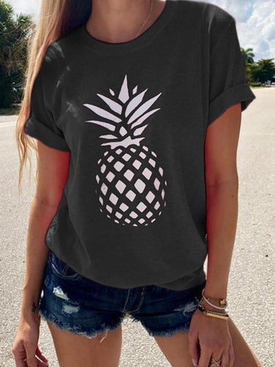 Summer Pineapple Printed Women Short Sleeve T-shirts
