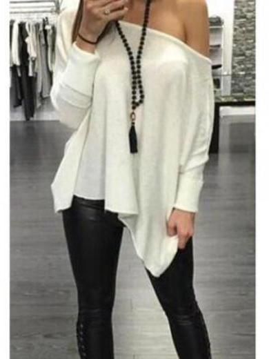 Asymmetric Hem Skew Neck T Shirt