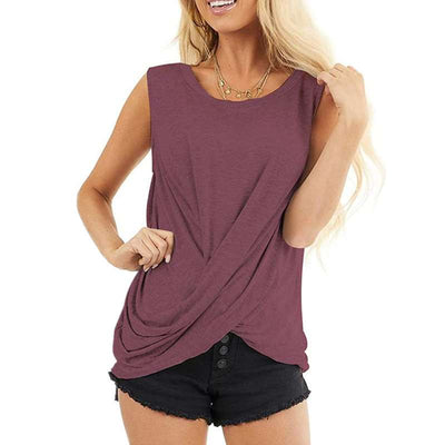Fashion Round neck Sleeveless Pure T-Shirts