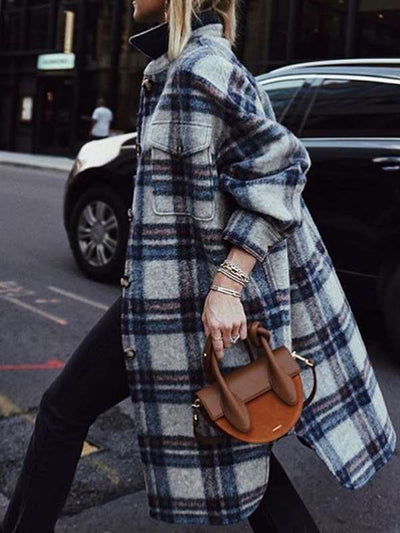 Stylish long sleeve plaid lapel collar coats