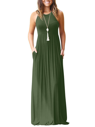 Sleeveless Pleated Floor-Length Dress