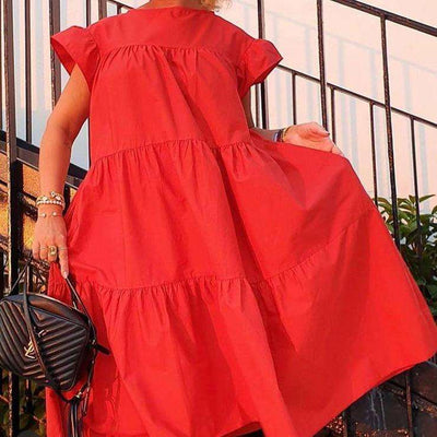 Casual Loose Pure Round neck Short sleeve Falbala Shift Dresses