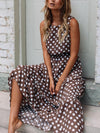 Fashion Sleeve less Woman Pot Printed Coffee Maxi Dresses