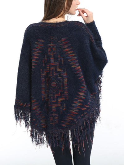 One-Neck Bat Sleeve Labyrinth Pattern Sweater