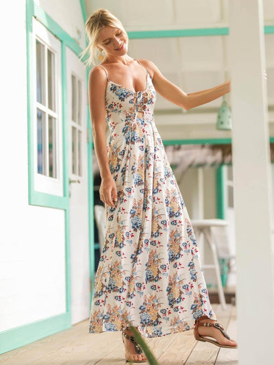 Lace Up Open Back Florals Dress