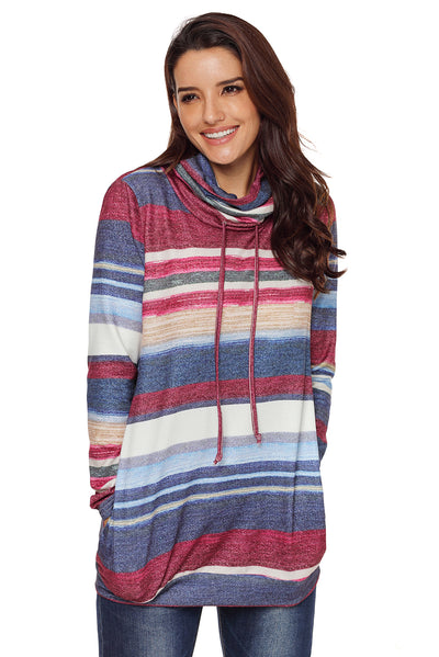 New Women Multicolor stripes Hoodies