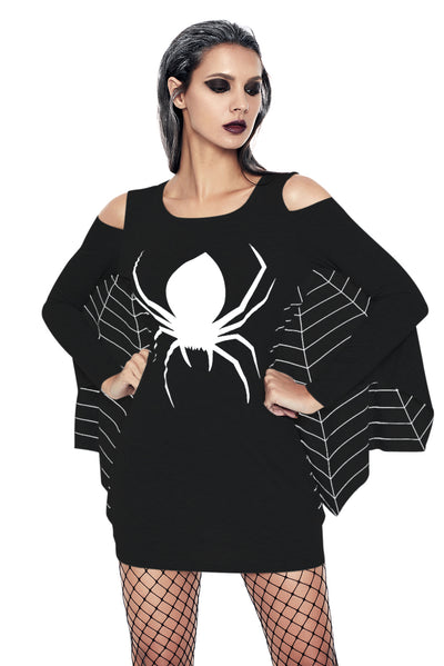 Women Halloween Floral Spider Long sleeve suit