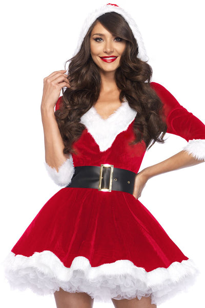 Fashion Christmas Velvet V neck Half sleeve Hoodie Dress
