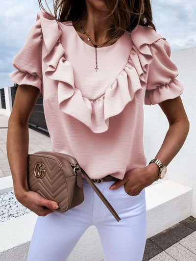 Fashion Pure Falbala Short sleeve Round neck Blouses