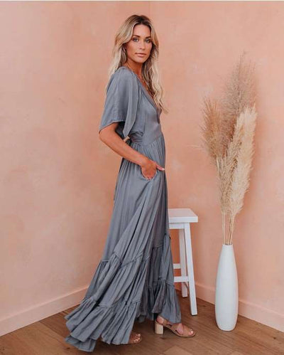 Fashion Casual Pure V neck Short sleeve Skater Gored Falbala Maxi Dresses