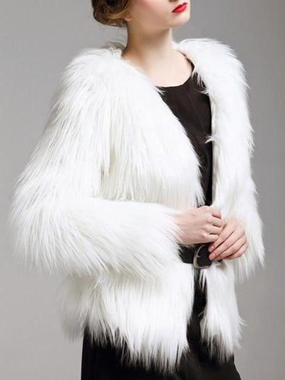 Luxury Women Plus Size Multicolor Warm Thicken Faux Fur Coat